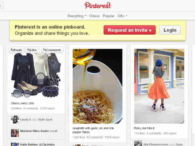 A visit to the Pinterest home page reveals images of what some say are stereotypically female interests, from women's fashions to recipes.