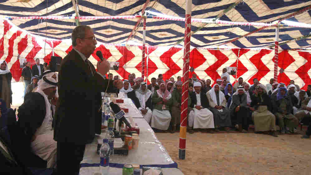 Egyptian presidential candidate and former Arab League Secretary General Amr Moussa delivers a speech to Bedouins in Ras Sidr during a campaign trip to the South Sinai last week. Egyptians are anticipating the first presidential elections after last year's ouster of Hosni Mubarak.