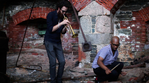 Avishai Cohen and Eric Harland perform at Fort Adams in Newport, RI. (Erik Jacobs for NPR)