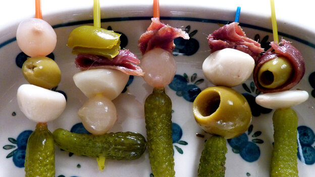 Banderillas, or colorful mini skewers of assorted pickles, olives and anchovies