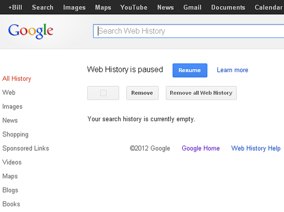 A screen grab shows the Google Search history page — and the buttons to click to remove and pause a user's history. (NPR)