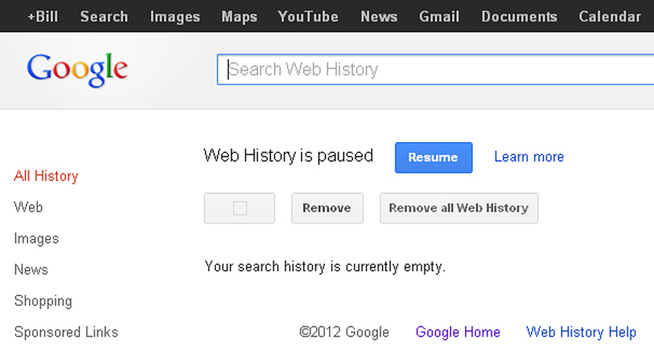 A screen grab shows the Google Search history page — and the buttons to click to remove and pause a user's history.