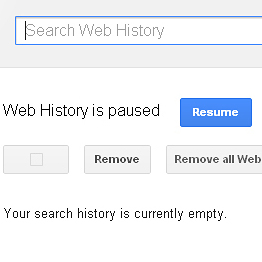 A screen grab shows the Google Search history page -- and the buttons to click to remove and pause a user's history.