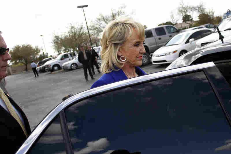 Arizona Gov. Jan Brewer, who endorsed Mitt Romney in February, cast her vote for the former Massachusetts governor in Glendale.