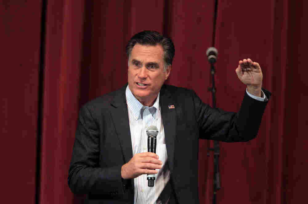 Republican presidential candidate, former Massachusetts Gov. Mitt Romney, addresses supporters at the Royal Oak Music Theatre in Michigan on Monday.