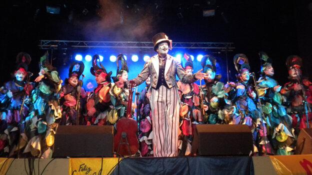 The murga choir Los Curtidores de Hongos performes at the Teatro de Lavalleja in Minas, Uruguay, in February.