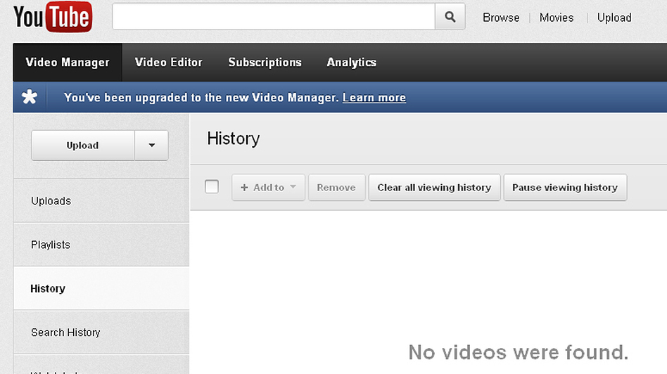 YouTube's history and search history are separate tabs that users may want to use to clear their past usage, as seen in this screen grab. (NPR)