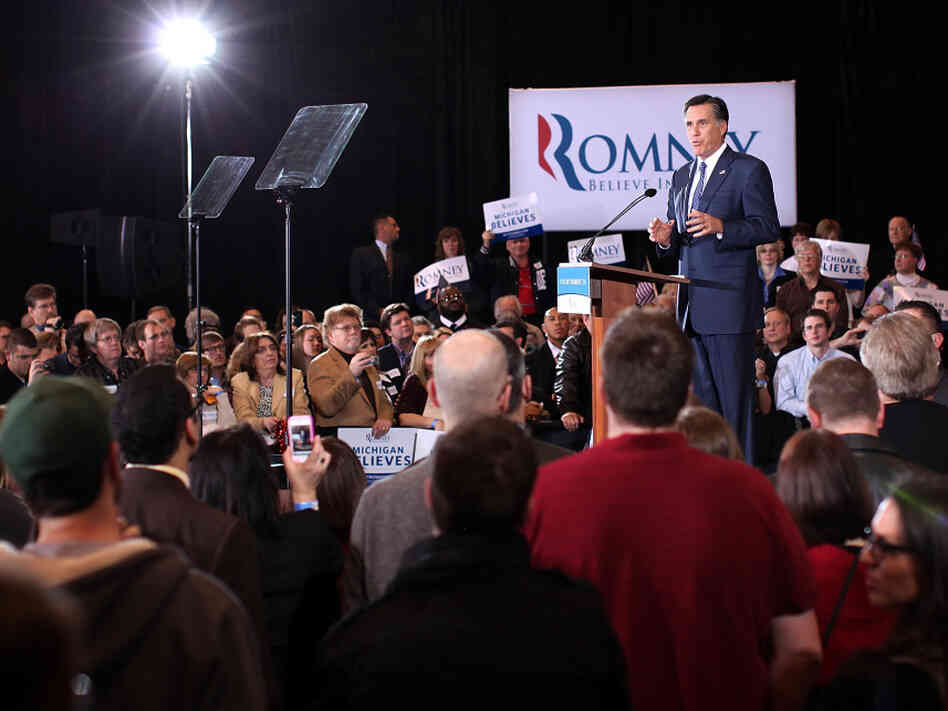 Republican presidential candidate Mitt Romney speaks on Feb. 28, 2012 in Novi, Michigan. Romney celebrated primary victories in Arizona and Michigan over his principal challenger, Rick Santorum.