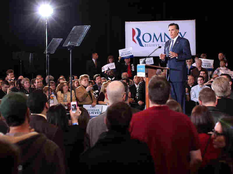 Republican presidential candidate Mitt Romney speaks on Feb. 28, 2012 in Novi, Michigan. Romney celebrated primary victories in Arizona and Michigan over his principal challenger, Rick Santorum.