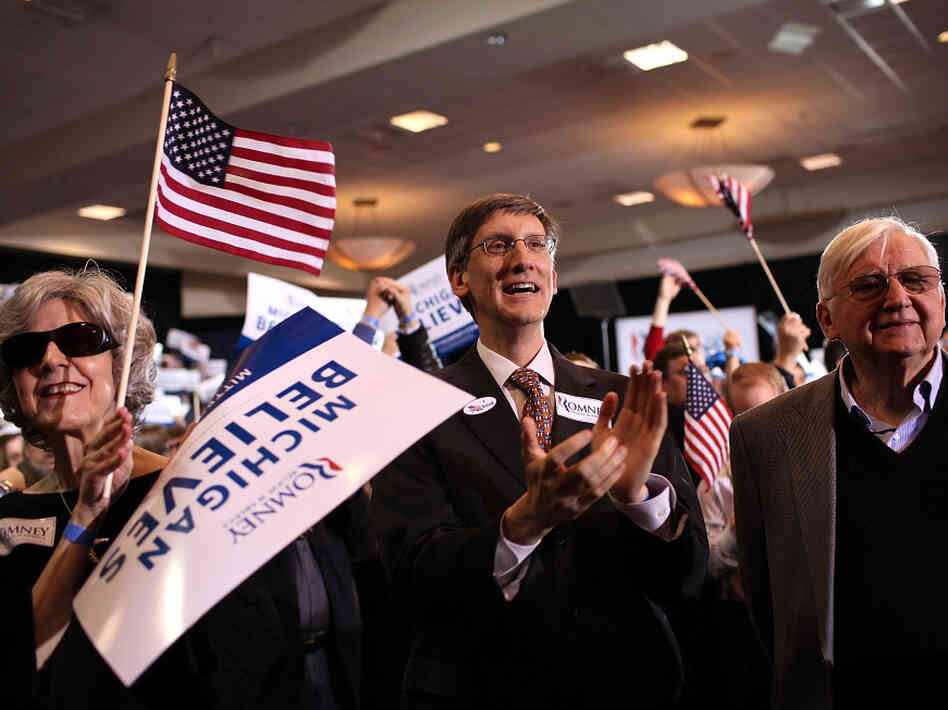 Supporters of Republican presidential candidate Mitt Romney celebrate on Feb. 28, 2012 in Novi, Michigan. Romney was declared the winner of the Arizona and Michigan primaries.