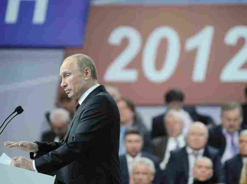 Presidential candidate and Russian Prime Minister Vladimir Putin speaks Wednesday at a meeting with his campaign activists in Moscow.