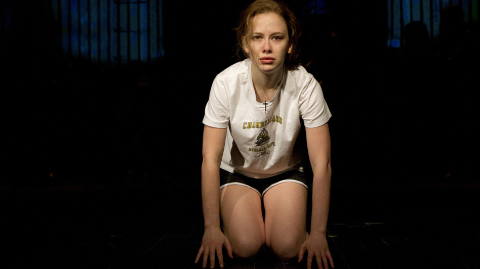 Molly Ranson plays the title role in the off-Broadway reworking of <em>Carrie</em>, directed by Stafford Arima and written by Lawrence D. Cohen, with lyrics by Dean Pitchford and music by Michael Gore. (Joan Marcus/ )