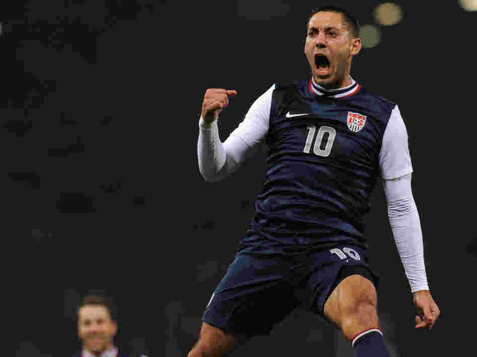 Clint Dempsey of Team USA celebrates his goal against Italy earlier today (Feb. 29, 2012) in Genoa, Italy.