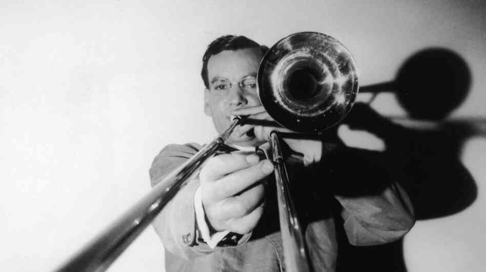 The great jazz musician and band leader Glenn Miller with his trombone.
