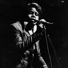 The inimitable James Brown sings on stage at the Olympia theater, Paris, France.