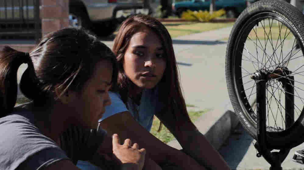 """Fenessa Pineda (left) plays Yolanda, nicknamed """"Mosquita,"""" and Venecia Troncoso plays Mari in Mosquita y Mari, a film about the budding love between two Chicana teenagers."""