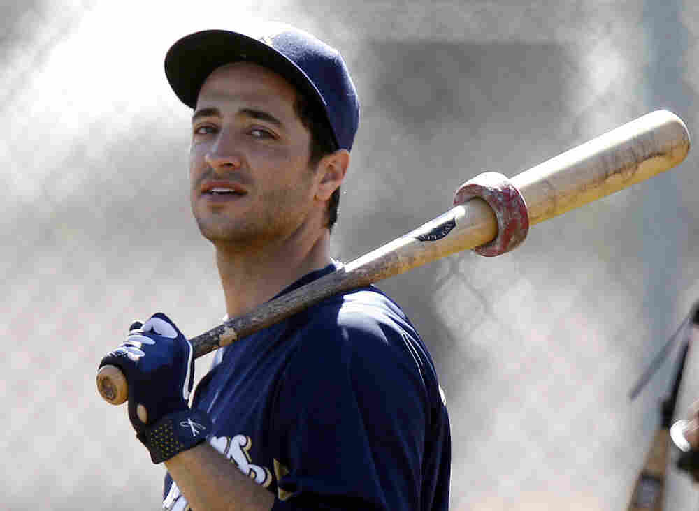 Milwaukee Brewers outfielder Ryan Braun waits for his turn to take batting practice at baseball spring training in Phoenix. The person who collected Braun's urine samples that tested positive for elevated testosterone levels says he followed the collection program's protocol.