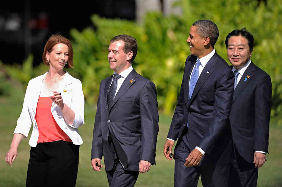 A route to freer thinking? Australian Prime Minister Julia Gillard, Russian President Dmitry Medvedev, U.S. President Barack Obama and Japanese Prime Minister Yoshihiko Noda stroll outdoors for a photo-op at the 2011 APEC summit in Hawaii.