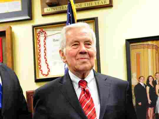 Senator Richard Lugar, R-Ind., poses for the media on Feb. 6, 2012 at his Capitol Hill office in Washington, DC. Lugar, often considered a moderate Republican, faces a tough reelection fight in 2012.