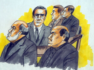 """Defendants in the """"Operation Family Secrets"""" trial included Frank Calabrese Sr. (clockwise from left), Joey Lombardo, Anthony Doyle, Paul Shiro and James Marcello. The men are pictured during an Aug. 15, 2007, court hearing in Chicago."""