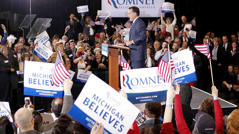 Former Massachusetts Gov. Mitt Romney gives a victory speech Tuesday in Novi, Mich., after winning the state's primary.