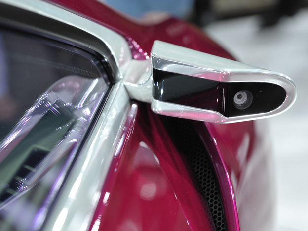 A camera is used instead of a rearview mirror on the Toyota NS4 plug-in hybrid concept car at the North American International Auto Show in Detroit on Jan. 10.