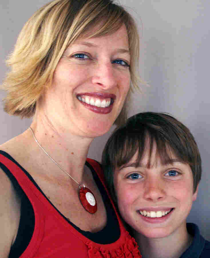 Jennifer Coursey with her son, 12-year-old Grant Coursey, at StoryCorps in Ukiah, Calif.