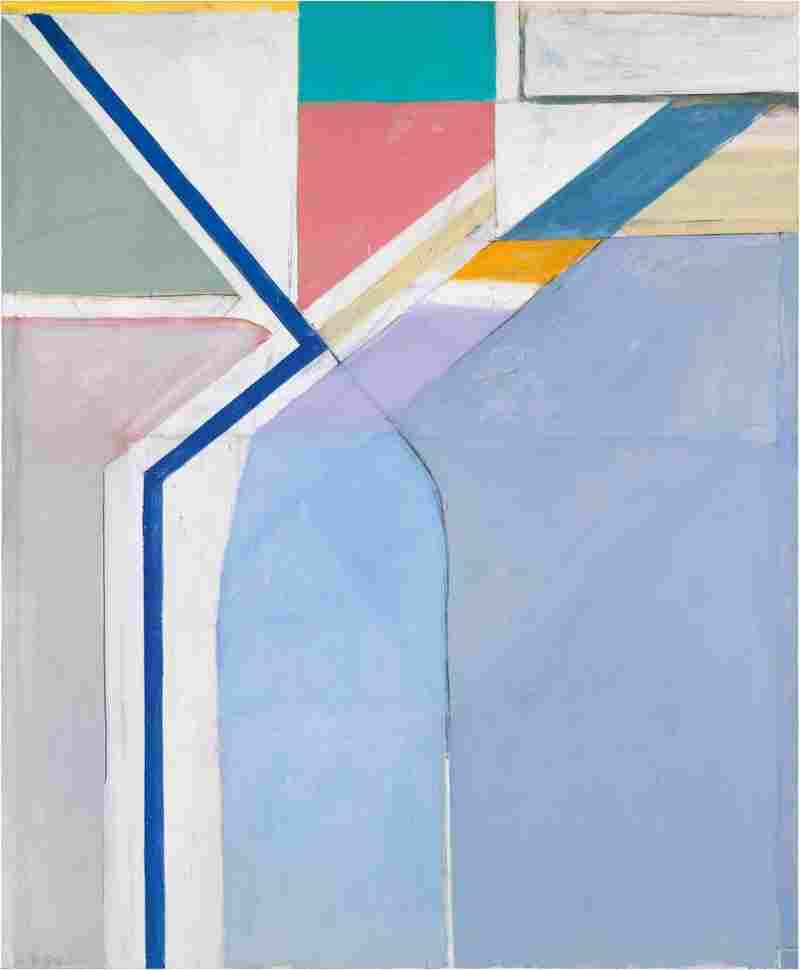 Diebenkorn's studio sat on a hillside; he looked out and up at the geometry of the hill, and how the streets crossed one another. Above, his 1969 oil painting Ocean Park #24.