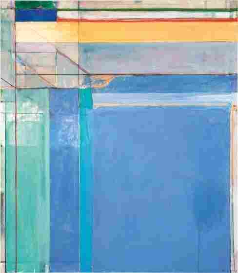 Richard Diebenkorn's 1975 work Ocean Park #79, features pastel blues, lavenders and aquas — and thin strips of deep red and green at the top to draw the viewer's gaze upward.
