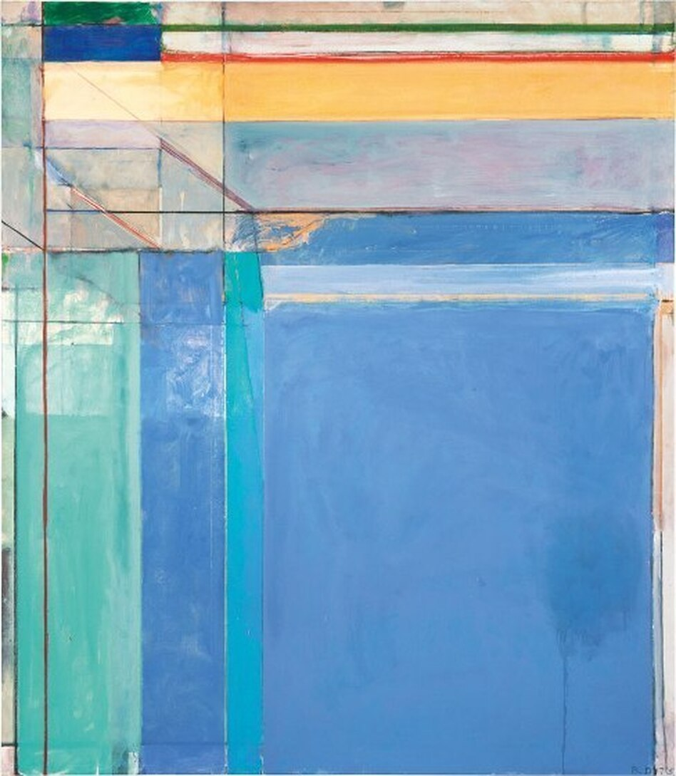 Richard Diebenkorn's 1975 work <em>Ocean Park #79,</em> features pastel blues, lavenders and aquas — and thin strips of deep red and green at the top to draw the viewer's gaze upward.<em></em> (The Estate of Richard Diebenkorn/Courtesy Philadelphia Museum of Art)