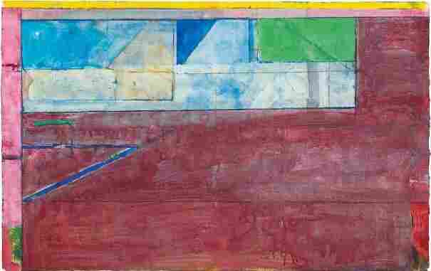 "Diebenkorn played music in his studio while he painted — he loved Bach and Mozart — and it's reflected in his composition of colors. ""I really do see them as kind of music,"" says curator Sarah Bancroft. Above, Diebenkorn's 1984 work, Untitled #26 — gouache, acrylic and crayon on joined paper."