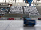 An ice-resurfacing machine races across a rink at Curt-Frenzel-Stadion in Augsburg, Germany.