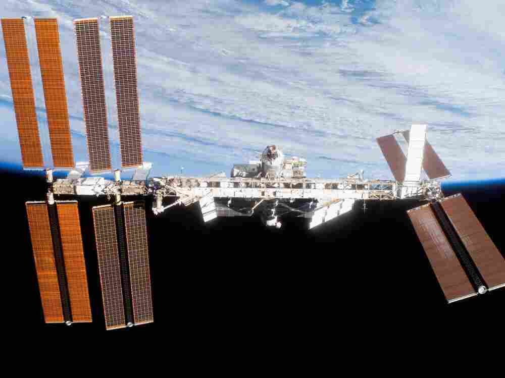 The International Space Station, seen from the shuttle Discovery