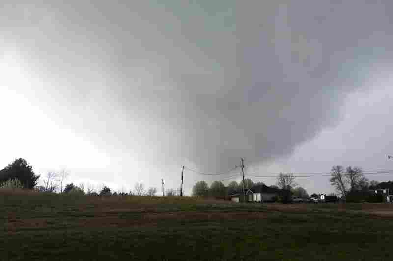A cellphone photo captured the tornado that struck in New Market, Ala.