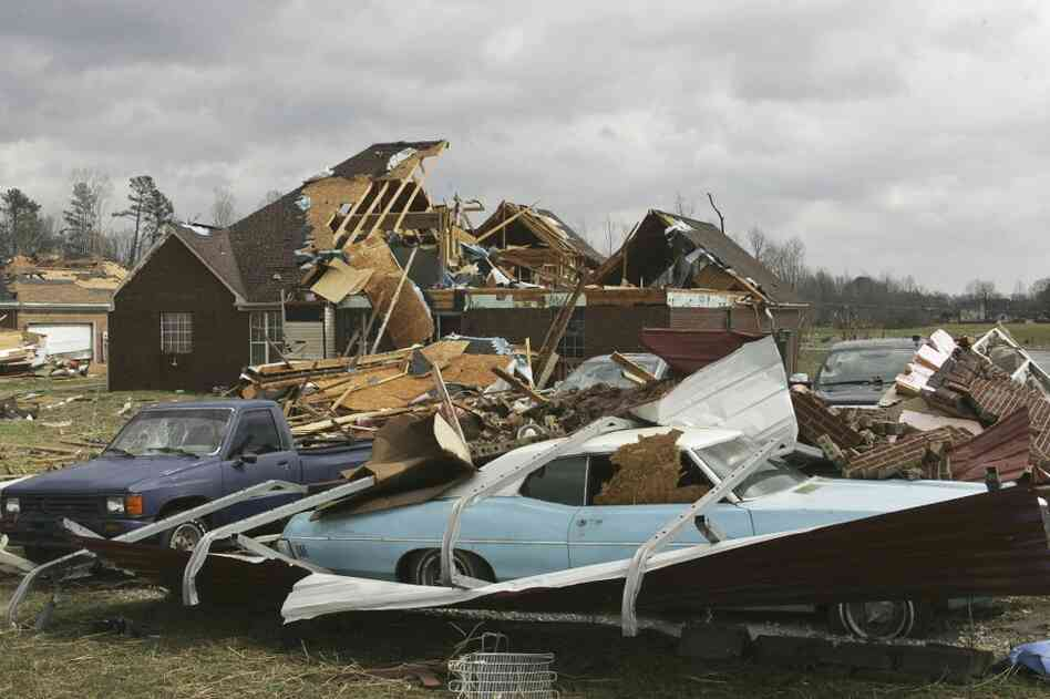 A tornado destroyed homes and damaged cars in East Limestone County, Ala.