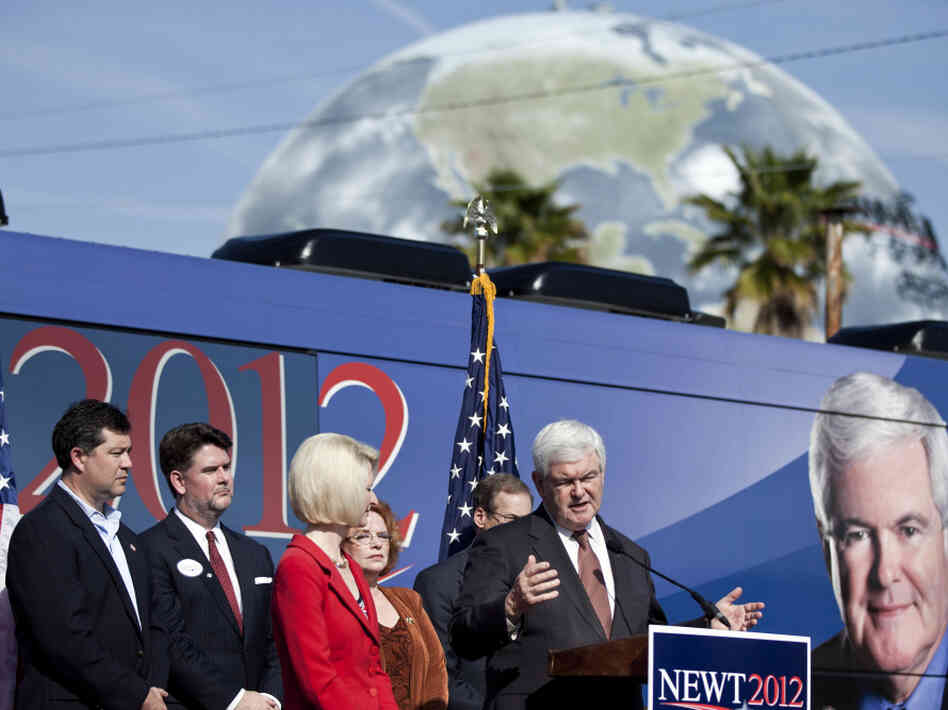 Newt Gingrich speaks at a March 2 rally in Savannah, Ga. He has said he must win his home state's Super Tuesday primary next week.