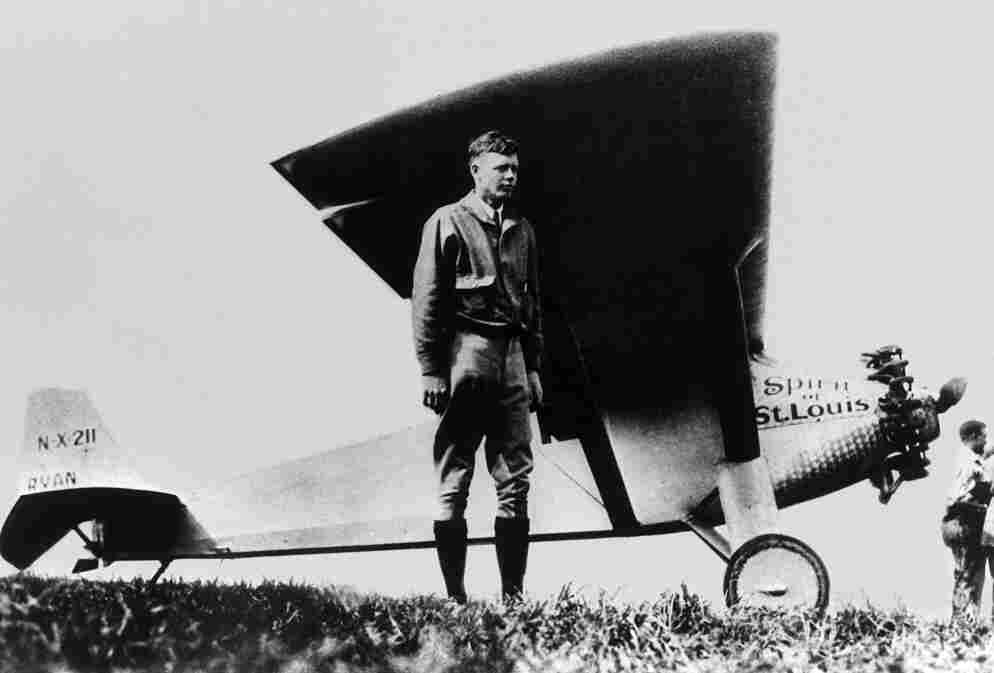 Charles Lindbergh, looking entirely relaxed after having achieved the first solo nonstop transatlantic flight.