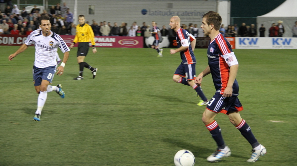 The Galaxy play against the New England Revolution in Tuscon. Several MLS teams are playing in Arizona in a two-week tournament called the Desert Diamond Cup. (Courtesy of New England Revolution)