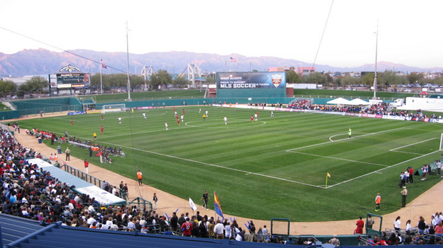 The L.A. Galaxy plays against Real Salt Lake at Kino Stadium in Tuscon, Ariz. (NPR)