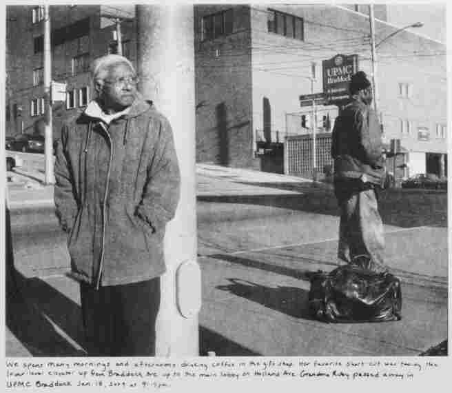 La Toya Ruby Frazier's black-and-white images document the decline of her industrial hometown, Braddock, Pa. Her 2011 work, Grandma Ruby and U.P.M.C., depicts her grandmother in front of a hospital that has since been torn down.