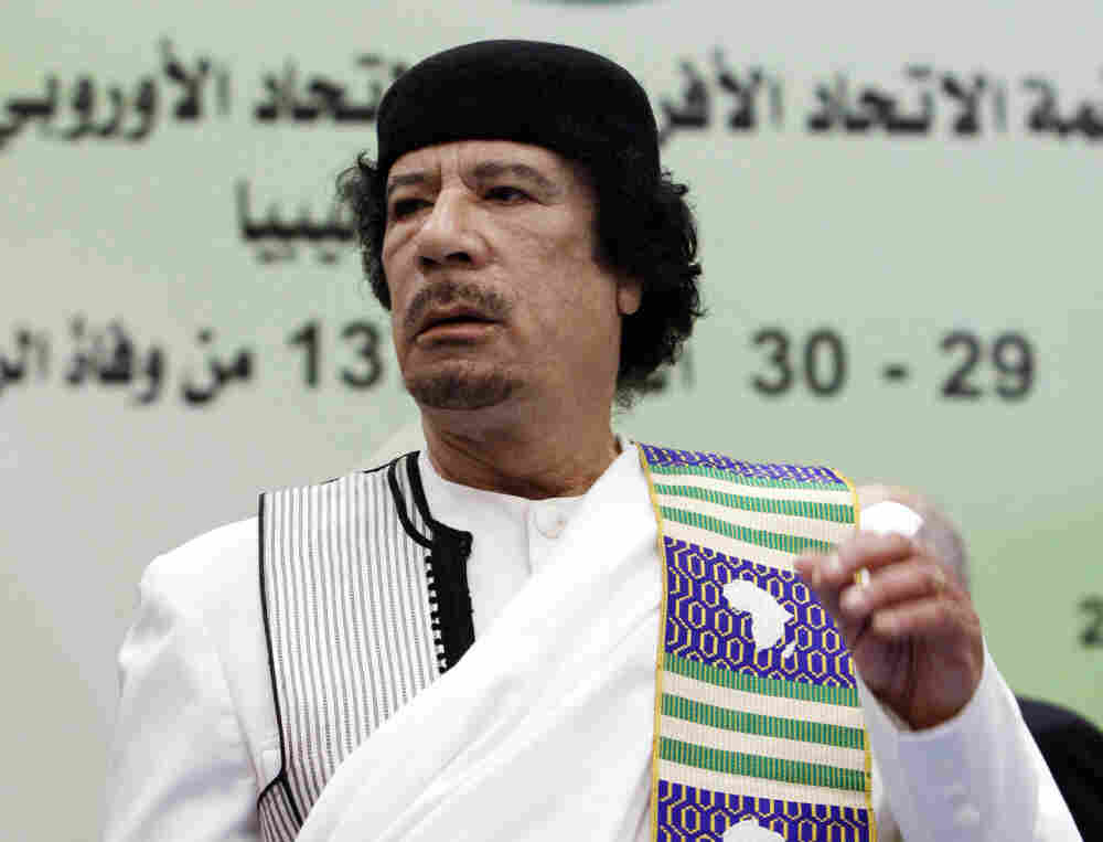 The late Moammar Gadhafi attends the opening session of the Africa-EU summit in November 2010.