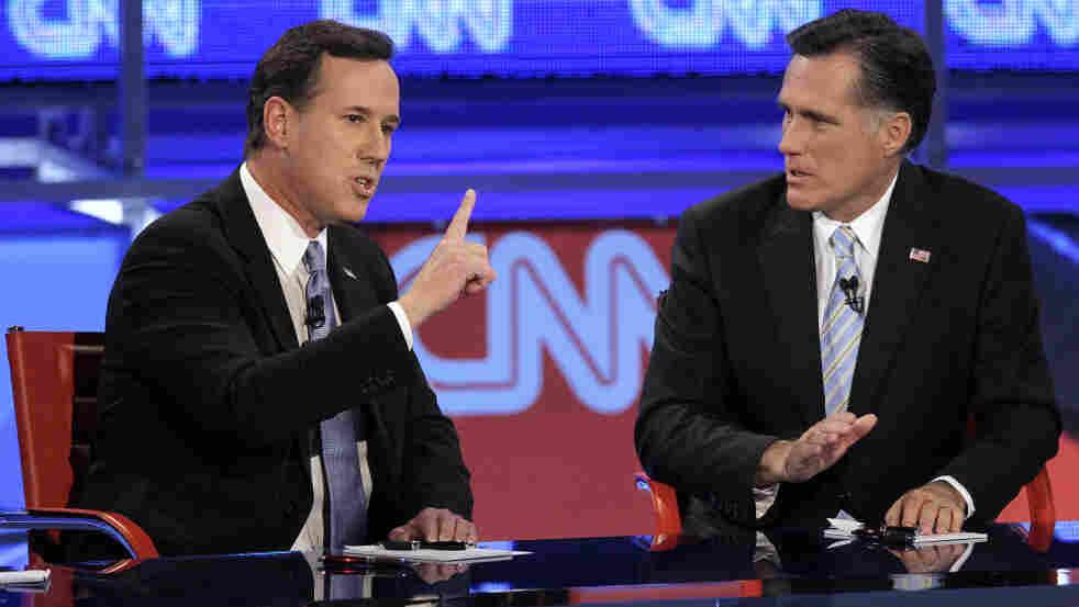 Republican presidential candidates Rick Santorum and Mitt Romney clashed often during Wednesday's GOP debate.