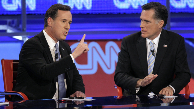 Republican presidential candidates Rick Santorum and Mitt Romney clashed often during Wednesday's GOP debate.