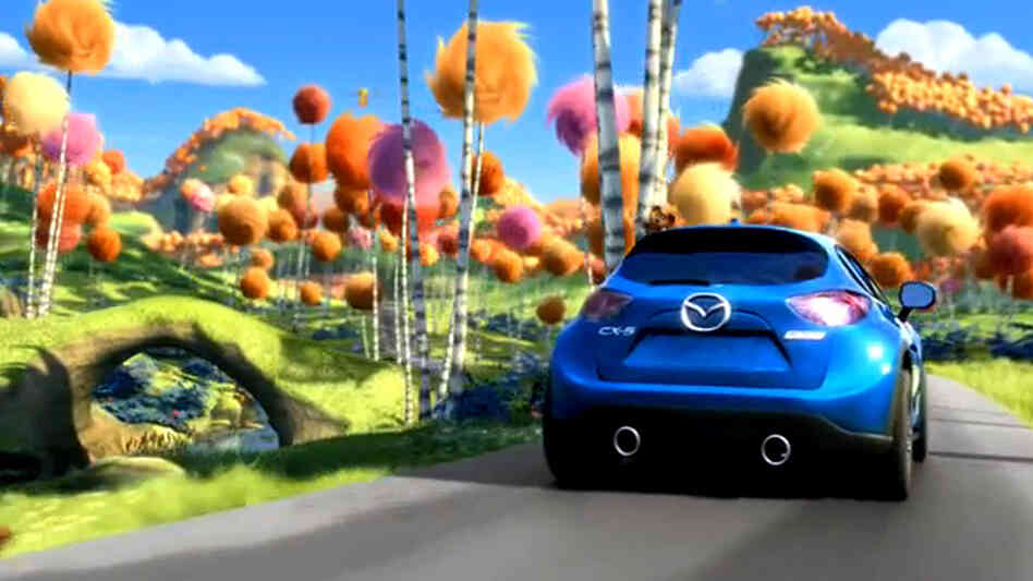 A screenshot from the Mazda ad featuring the Lorax.