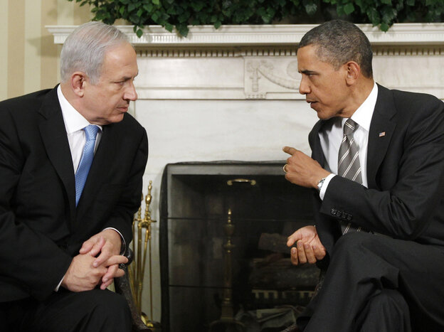 President Obama in the Oval Office with Israel's Prime Minister Benjamin Netanyahu, May 2011.