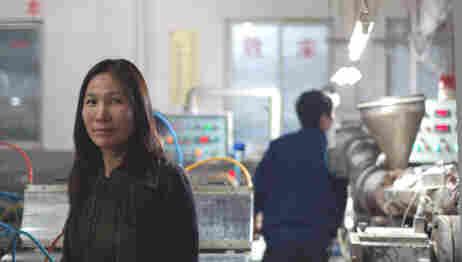 Rosalia Yang, at the factory where her company makes imitation-wood flooring.