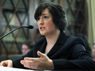 Law student Sandra Fluke talking to House Democrats, February 23, 2012.