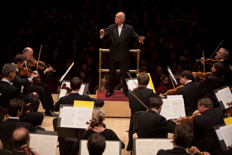 """Lorin Maazel, who turns 82 this month, led the orchestra entirely from memory in both  Mozart's Symphony No. 40 and his own arrangement of Wagner called the """"Ring Without Words."""" No score meant no music stand — and so he had an even more immediate connection to the orchestra. (Melanie Burford for NPR)"""