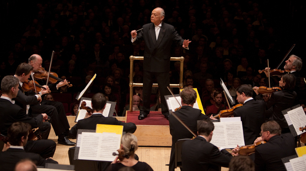 Lorin Maazel conducting Mozart's Symphony No. 40 — with no score — live at Carnegie Hall on March 3, 2012.  (Melanie Burford for NPR)