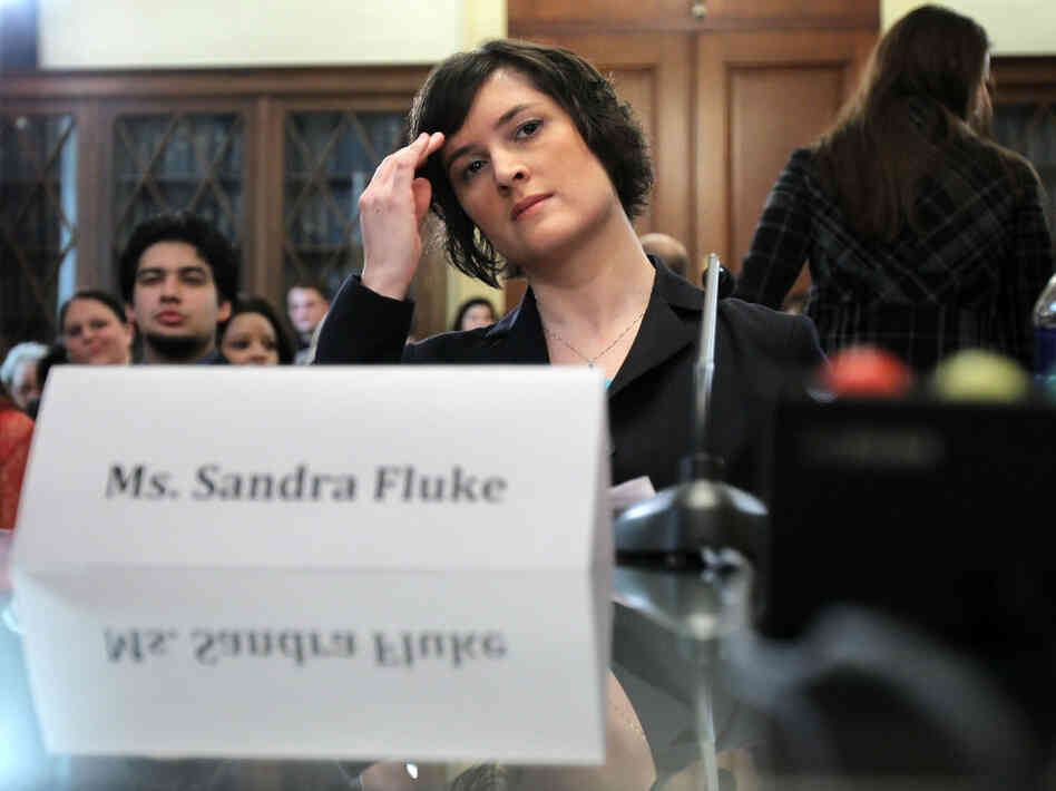 Sandra Fluke, a third-year law student at Georgetown University, waits to testify before the House Democratic Steering and Policy Committee on Feb. 23.